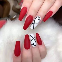 Red and White Nails. Red and White Nails. Valentine's Ballerina Nails. Red and White Nails. Red And White Nails, White Nail Art, Pink Nail Art, Pastel Nails, Glitter Nail Art, Valentine's Day Nail Designs, Acrylic Nail Designs, Nails Design, Heart Nail Designs