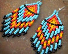 Bohemian beaded earrings Long colorful earrings by HappyBeadwork