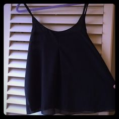 A.B.S. Allen Schartz Black Pleated Camisole Top So dressy looking. Wear with jeans and heels or under a blazer for work! I wear a size S and I'm modeling the large so it will look perfect for the right size! Beautiful pleat in front. A.B.S. by Allen Swartch denim collection. Fully lined. Very flowing fabric. 100% Polyester! ABS Allen Schwartz Tops Camisoles