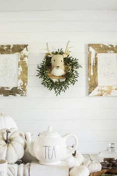 Fall Farmhouse - Neutral Fall DIY - White Pumpkin Decor - Thanksgiving Tablescape - Forest Fall Autumn Woodland Animal Children's Tea Party Dining Room Table Decor Centerpiece + Seasonal Plush Deer Wall Gallery
