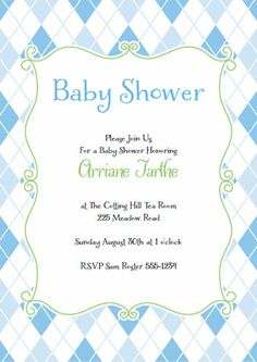 136 best diy baby shower invitations images on pinterest diy baby blue argyle baby shower invitation also available in pink filmwisefo