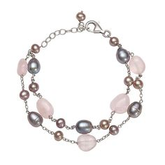 Rose Quartz, Gray & Pink Freshwater Cultured Pearl Bracelet in Sterling Silver - 2268432