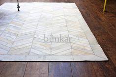 IVORY CHEVRON Style Bunkar Handmade 100% Real Cowhide Leather Designer Area Rugs