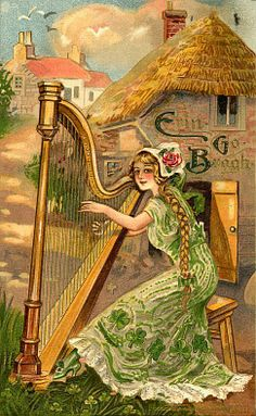 Shop Erin Go Bragh Harp Woman Holiday Card created by VintageHolidays. St Patrick's Day, Vintage Cards, Vintage Postcards, Vintage Images, St Patricks Day Cards, Happy St Patricks Day, Saint Patricks, Erin Go Bragh, Irish Blessing