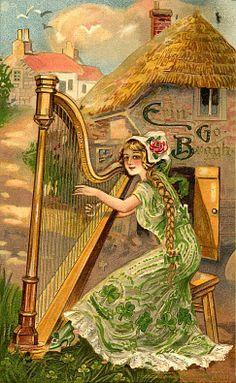 Shop Erin Go Bragh Harp Woman Holiday Card created by VintageHolidays. St Patrick's Day, Vintage Cards, Vintage Postcards, Vintage Images, St Patricks Day Cards, Happy St Patricks Day, Saint Patricks, Irish Greetings, Erin Go Bragh