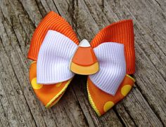 HALLOWEEN Ribbon hair bow french clip barrette for Girl Puppy Dog Pet (CornCandy). $4.50, via Etsy.