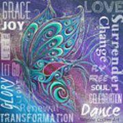 Butterfly Wordart Joy Poster