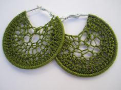 Green crochet hoop earrings!