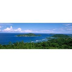 View over Anse LIslette and Therese Island Seychelles Canvas Art - Panoramic Images (36 x 13)