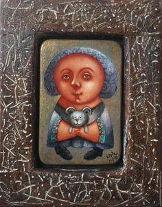 """Купить """"Зайка мой"""", живопись на дереве. - тёмно-бирюзовый, зайка, ребенок, картина в подарок"""