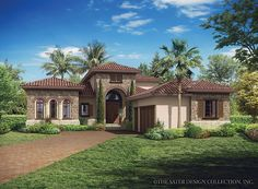 Mediterranean-Modern House Plan with 3648 Square Feet and 3 Bedrooms from Dream Home Source | House Plan Code DHSW077014
