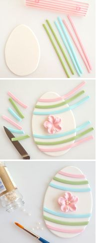 How to make fondant Easter eggs for decorating cakes and cupcakes (Cake Journal). (How To Make Cake Fondant) Cake Decorating Techniques, Cake Decorating Tutorials, Cookie Decorating, Decorating Cakes, Easter Cupcakes, Easter Cookies, Easter Cake Fondant, Easter Cake Toppers, Torta Angel
