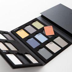 Idea Campionari - colors pattern book Box Design, Layout Design, Store Window Displays, Sample Box, Packaging Design, Branding Design, Catalog Design, Mason Jar Diy, Display Boxes