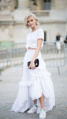 all white. knot tee. maxi skirt.