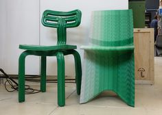 Dutch designer Dirk Vander Kooij experiments with recycled plastics and 3D printing. These chairs are made using and old rapid prototyping robot arm retro-fitted to print with recycled refrigerator plastic.