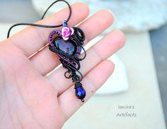 Goth wire wrapped Purple glass heart pendant  OOAK by Ianira