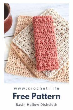 Crochet Dishcloth Patterns – 2 Basin Hollow Sizes – Free crochet pattern by Gold… – Vera Lauschik - Crochet Diy Crochet Projects, Diy Crochet Patterns, Crochet Diy, Afghan Crochet, Wash Cloth Crochet Pattern, Diy Crochet Clothes, Crochet Dishcloths Free Patterns, Quick Crochet Gifts, Dishcloth Crochet