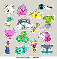 Vector patch set - 80s-90s style design.Flat Vector illustration isolated