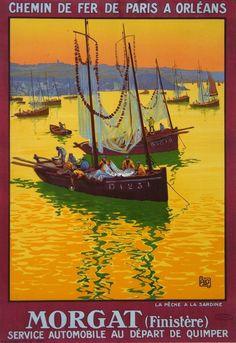 """Affiche : MORGAT """"La Pêche à la Sardine """"  (1920), France. La scène représentée date du début XXè. Avant de repartir en pêche, on a hissé aux mâts la nappe diaphane des filets maillants pour en assurer le séchage"""