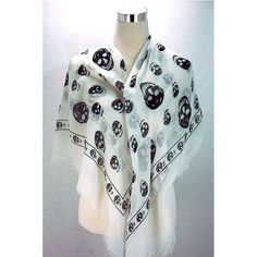 Fray Square Skull Scarf - white Available from www.skullaccessories.co.uk