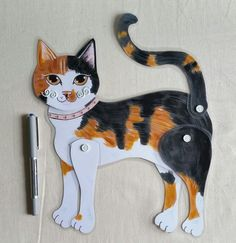 Calico Cat Movable Art Cat Paper Doll Folk Art by kittycatstudio