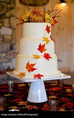 Wedding Cake with Fall Flowers, #wedding #cake http://prettyweddingidea.com/