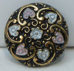 Hearts and Swirls Czech Glass Button