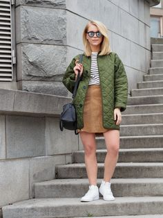 LACK OF COLOUR / Quilted green bomber / Nikes OOTD / Suede skirt