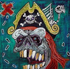 Pirate Art Treasure Map Parrot Skeleton Gold Teeth Art Skull Painting barbosaart #OutsiderArt