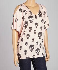 Another great find on #zulily! Pink & Gray Skull Cutout Top - Plus by Poliana Plus #zulilyfinds