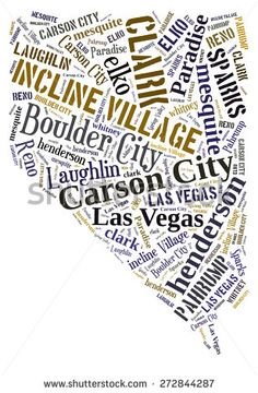 Word Cloud in the shape of Nevada showing some of the cities in the state - stock photo