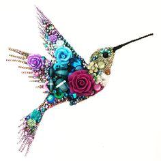 Hummingbird button art & beads