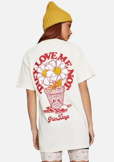 GRIM DAYS Love Me Graphic Tee or love me not. This soft cotton tee has short sleeves, a round neckline, and floral graphics on the chest and back. Shirt Logo Design, Tee Shirt Designs, Tee Design, Apparel Design, Cute Shirts, Streetwear Fashion, Diy Clothes, Graphic Tees, Cotton Tee