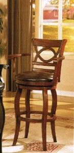 Swivel Bar Stools with Arms | Dark Brown Finish Wood Swivel Bar Stool With Arms And Bycast... review ...
