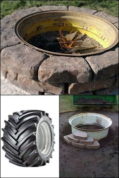 Want a backyard fire pit? Build a tractor rim fire pit! This is one of the easiest DIY projects you can do for a backyard fire pit. It's easy, safe, and inexpensive as you can use an old tractor tire rim for it. Have a look at our gallery of beautiful Fire Pit Yard, Rim Fire Pit, Fire Pit Backyard, Fire Fire, Cheap Outdoor Fire Pit, Indoor Outdoor, Backyard Projects, Outdoor Projects, Diy Projects