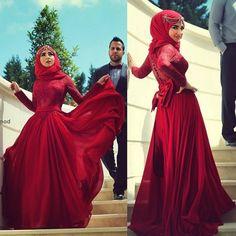 Top Lace Crimson Wedding Dresses Bridal Gowns Custom Plus Long Sleeve Vintage #ALineSexy