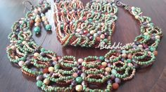 """""""Cascade"""" set of necklace, bracelet and earrings. Designed and beaded by Beaddict. Seed beads, fire polished beads, cuff, bead weaving."""