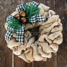 Christmas Burlap Wreath 22 Xmas Wreath Rustic by SolidWoodDoor Burlap Projects, Burlap Crafts, Wreath Crafts, Diy Wreath, Burlap Wreaths, Door Wreaths, Yarn Wreaths, Tulle Wreath, White Wreath