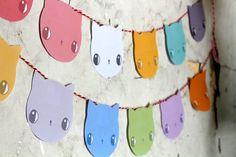 Pastel Kitten Garland / bunting - PRINTABLE CRAFT PROJECT. $4.00, via Etsy.
