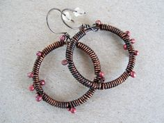 Circle Copper Earrings, Wrapped and Oxidized Copper Circle Earrings, Round Copper Earrings, Primitive Earrings