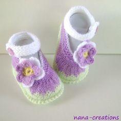 Chaussons,babies bebé,laine,fait main,anis,violet,blanc,0/3 mois