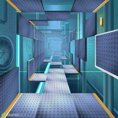 Sci fi corridor illustration Corridor, Game Design, Basketball Court, Sci Fi, Illustration, Science Fiction, Illustrations