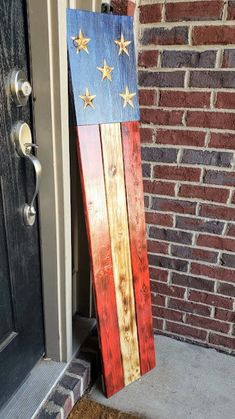 4th July Crafts, Fourth Of July Decor, 4th Of July Decorations, Patriotic Crafts, July 4th, Wooden Welcome Signs, Wooden Signs, Painted Signs, Pallet Crafts