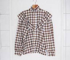 Plaid button up Western Shirt // Vintage Shirt // Medium by Cobys