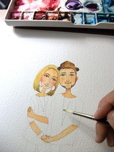 custom portrait, Custom Illustrated for Wedding Invitation, Custom Couple illustration. custom portrait, Custom Illustrated for Wedding Invitation, Custom Couple illustration. Couple Illustration, Portrait Illustration, Watercolor Portraits, Watercolor Paintings, Watercolours, Art Aquarelle, Dibujos Cute, Watercolour Tutorials, Art Tutorials