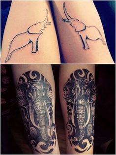 Before - Top After - Bottom Best friend matching elephant tattoos, later both covered up.