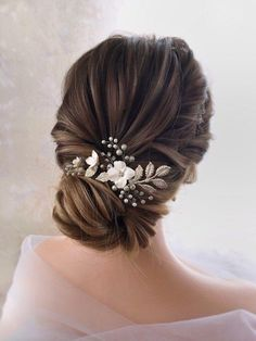 Flower Hair Comb, Bridal Headpiece, Pearl Hair Comb, Flower Headpiece, Crystal Pearl Wedding Headpie - All For Bridal Hair Wedding Hair Pins, Wedding Hair And Makeup, Wedding Hair Accessories, Wedding Set, Princess Wedding, Wedding Hair With Veil, Hair Pieces For Wedding, Wedding Hair Styles, Boho Wedding Hair Updo