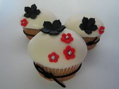 White, Black and Red Cupcakes