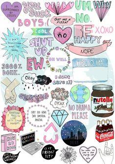 Set 45. Mockup printable Tumblr Stickers by BestStickersClub