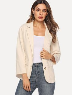 d35b2489cd28 Notched Single Breasted Solid Blazer
